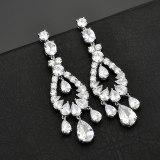 Korean Elegant Luxury Earrings AAA Zircon Inlaid Exaggerated Delicate Earrings Pendant 925 Silver Pin Fashion Jewelry Qxwe1173