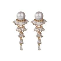 Fashion Korean-Style Long Pearl Earrings Zircon Earrings Tassel Female Ear Pendant Ear Stud Wholesale Qxwe980