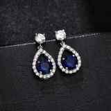 Zircon Earrings Copper Set round Platinum Classic Ear Pendant 925 Sterling Silver Ear Stud Earrings Qxwe1149