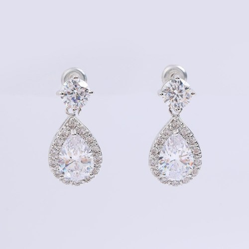 Korean Style Earrings AAA Drop Zircon Earrings Fashion Simple Ear Pendant Earrings Hot Selling Stud Earrings Qxwe836
