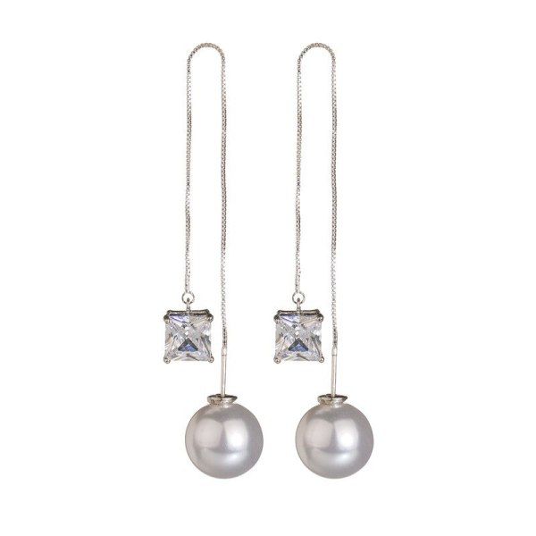 Korean Elegant Long Hanging Earrings S925 Silver Pin Square Zircon Pearl Ear Pendant Female Earrings Stud Earrings Qxwe1007