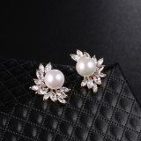 Registration S925 Sterling Silver Stud Earrings Zircon Korean Fashion Pearl Earrings Jewelry Wholesale Earrings QxWE634