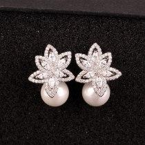 Elegant Pearl Zircon Earrings 925 Silver Pin Korean Style Quality Elegant Female Earrings Qxwe874