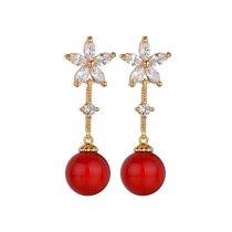 Copper AAA Zircon Inlaid Stud Earrings Pearl Earrings Fashion Fresh Earrings Wholesale Women's Accessories Qxwe1146