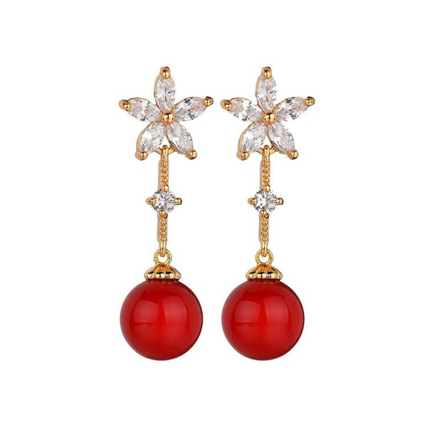 Copper AAA Zircon Inlaid Stud Earrings Pearl Earrings Fashion Fresh Earrings Wholesale Women's Accessories Qxwe1146