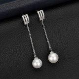 Korean Version of The Tassel Pearl Earrings Micro Pave AAA Zircon Earrings Pearl Ear Pendant Jewelry QxWE984