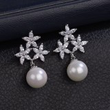 S925 Silver Pin AAA Zircon Inlaid Stud Earrings Fashion Pearl Earrings Earrings Qxwe915
