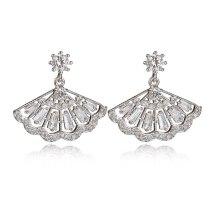 925 Sterling Silver Ear Pin Earrings Korean Style Fresh Fan-Shaped Exquisite Zircon Stud Earrings  Female Accessories Qxwe974