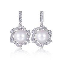 Elegant Pearl Earrings AAA Zircon Shell Pearls Stud Earrings 925 Sterling Silver Ear Pin Korean-Style Earrings  Qxwe1053
