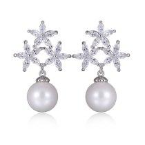 S925 Silver Pin AAA Zircon Inlaid Stud Earrings Fashion Pearl Earrings Earrings Qxwe915