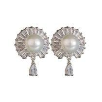 Pearl Stud Earrings 925 Sterling Silver Ear Pin AAA Zircon Inlaid Korean Fashion Ear Stud Earrings Qxwe989