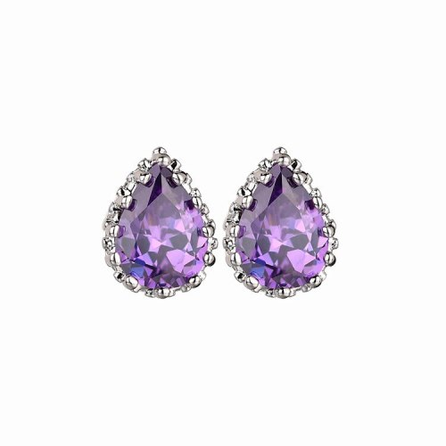 Copper Inlaid Drop Zircon Crystal Stud Earrings Cutout Lovely Earrings Simple Multi-Color Earrings Jewelry Qxwe407