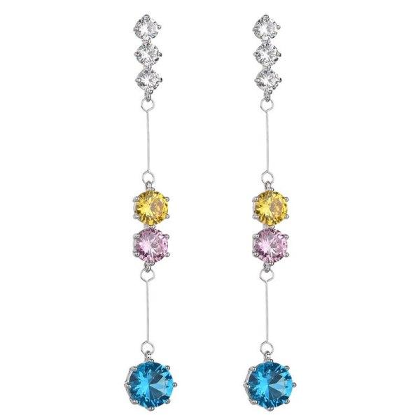Copper Inlaid AAA Artificial Crystal Zircon Long Earrings Sterling Silver Needle Fashion Earrings Jewelry QxWE1174