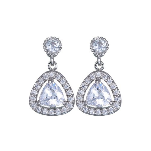 Korean-Style Triangle Crystal Zircon Earrings 925 Silver Pin Ear Pendant Fashion Jewelry Earrings Qxwe700