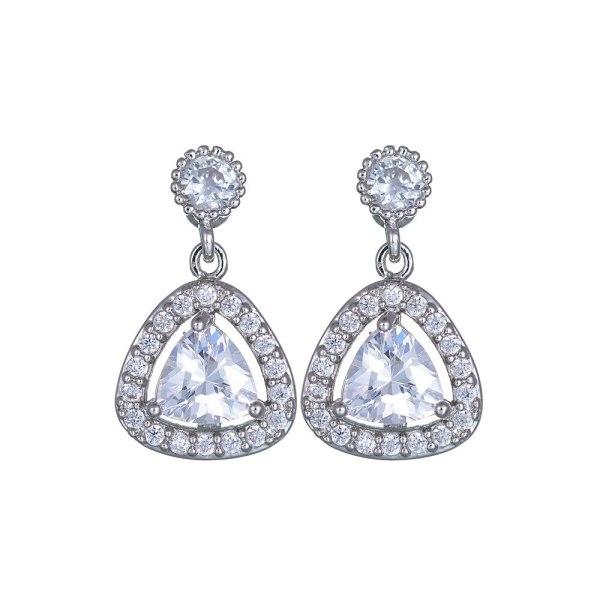 Korean-Style Triangle Crystal Zircon Earrings 925 Silver Pin Ear Pendant Fashion Jewelry Earrings Qxwe700