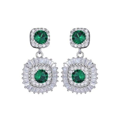 New Zircon Crystal Earrings Korean Fashion Ear Stud High-End Ear Pendant Ear Stud Earrings Jewelry Qxwe1117
