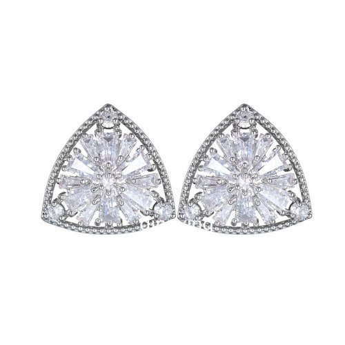 Triangular AAA Zircon Geometric Stud Earrings 925 Sterling Silver Ear Pin Korean-Style Earrings Jewelry Qxwe1002