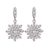 Snowflake AAA Zircon Stud Earrings Fashion Korean Earrings Jewelry Silver Pin Qxwe585