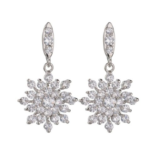 Snowflake AAA Zircon Stud Earrings Fashion Korean Earrings Jewelry Silver Pin Qxwe585