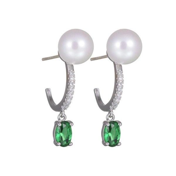 Green Algae Head Earrings European Boutique Trendy Stud Earrings Oval Ear Pendant Green Crystal Pearl Earrings Qxwe898