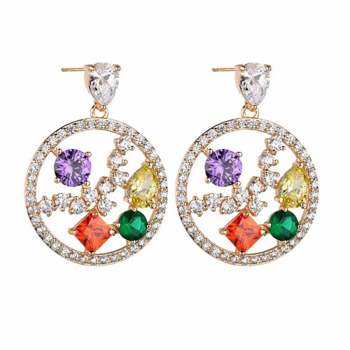 Copper Inlaid AAA Crystal Zircon Earrings European and American Quality Luxury Ear Stud Earrings Accessories Qxwe1147