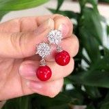Korean-Style Simple Snowflake Pearl Earrings AAA Zircon Inlaid Ear Stud Ear Pendant Fashion Earrings Accessories Qxwe586