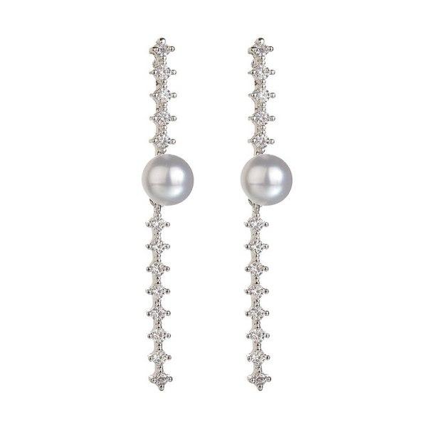 Korean-Style Exquisite Geometric Earrings AAA Zircon Pearl Inlaid Ear Stud 925 Sterling Silver Ear Pin Qxwe981