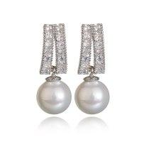 925 Silver Pin Copper Clip AAA Zircon Ear Stud Pearl Ear Pendant Fashion Ear Stud Korean Style Earrings Qxwe1034