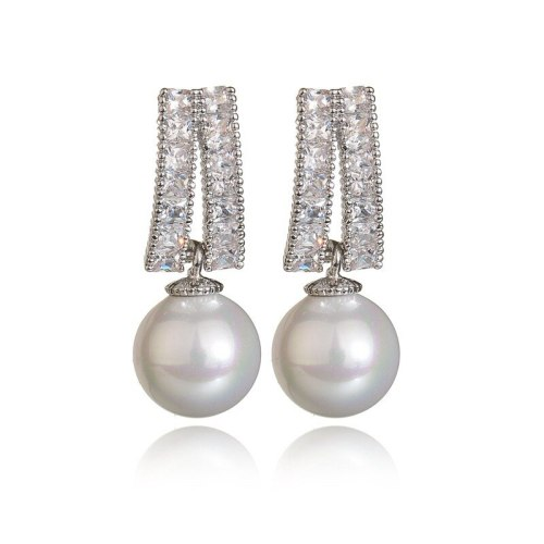 925 Silver Pin Copper Clip AAA Zircon Ear Stud Pearl Ear Pendant Fashion Ear Stud Korean Style Earrings Qxwe1034