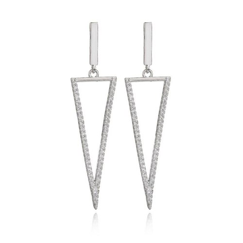 Creative New Geometric Micro Pave AAA Zircon Earrings S925 Sterling Silver Ear Pin Fashion Korean-Style Stud Earrings Qxwe997