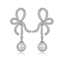 Geometric Bow Zircon Pearl Earrings Tassel Long Ear Pendant Korean Style Fashion Stud Earrings Qxwe896