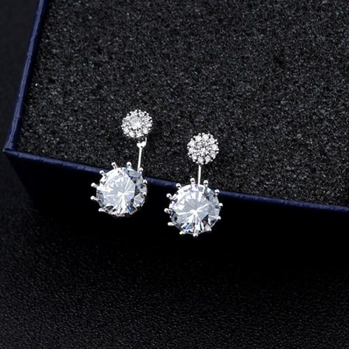 S925 Sterling Silver Zircon Stud Earrings Female Cool Double Wear All-match Back-Hanging Earrings Qxwe846