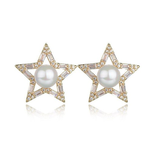 Big Star Pearl Stud Earrings Shiny AAA Zircon Earrings Korean Fashion Cool Earrings Jewelry Qxwe935