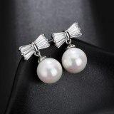 Women's Korean-Style Simple Ear Pendant Earrings with AAA Zircon Bow Stud Earrings Pearl Earrings QxWE1258