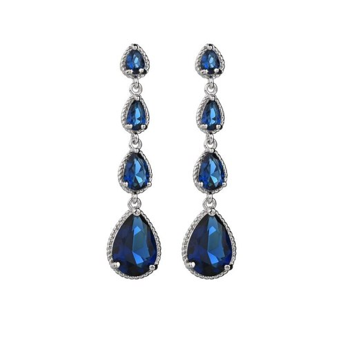 Silver Needle Drop AAA Zircon Crystal Inlaid Luxury Earrings Long Fashion Women's Dinner Stud Earrings Qxwe1274