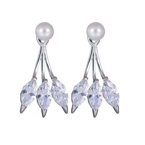 European and American Earrings Hanging AAA Zircon Ear Pendant Pearl Stud Earrings Fashion Elegant Earrings Qxwe923