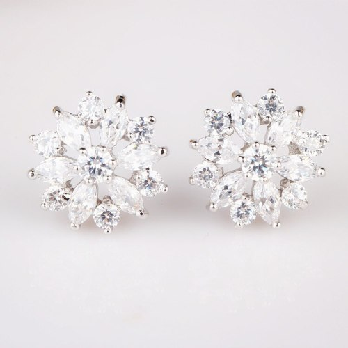 Zircon Earrings Korean Fashion Female Stud Earrings Cool All-match Snowflake Lover Earrings Jewelry Qxwe066