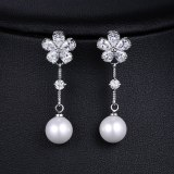 Pearl Zircon Earrings S925 Sterling Silver Pin Long Simple Women's Stud Earrings Qxwe972