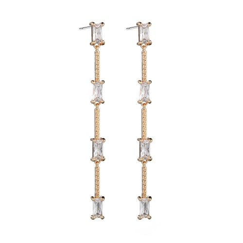 Korean Fashion Zircon Long Tassel Earrings Geometric Inlaid Earrings S925 Sterling Silver Stud Earrings Qxwe1295
