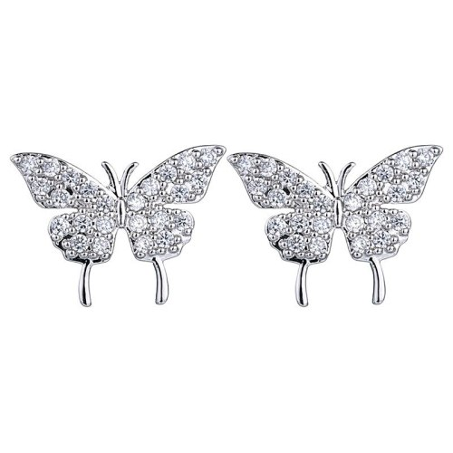 Korean Fashion Cartoon Stud Earrings Micro Pave AAA Zirconium Earrings Bright Simple Jewelry Butterfly Stud Earrings Qxwe894