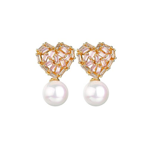 Korean-Style Peach Heart Pearl Stud Earrings Pink White Zircon Inlaid Female Cool 925 Sterling Silver Needle Earrings Qxwe1252