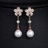 Pearl Zircon Earrings S925 Sterling Silver Pin Long Simple Women's Stud Earrings Qxwe972