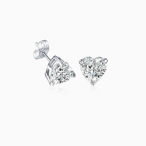 Heart-Shaped AAA Zircon Earrings Platinum Electroplated Simple All-match Lovely Stud Earrings Qxwe456