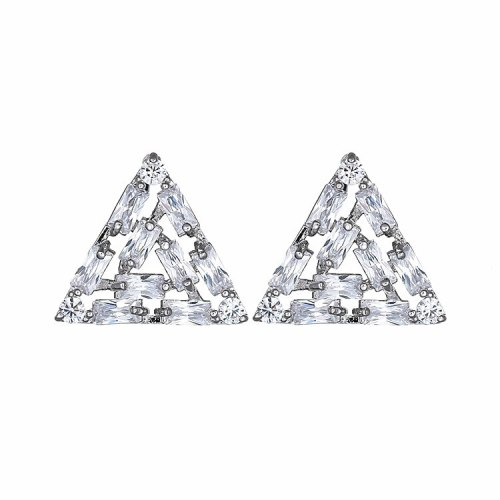 Triangle Stud Earrings AAA Zircon Inlaid Copper Earrings Jewelry Platinum Fashion Earrings Qxwt1069