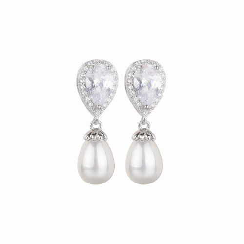 AAA Zircon Earrings Korean-Style Drop Pearl Stud Earrings Female Earrings Jewelry Qxwe1250