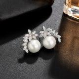 Korean-Style Pearl Stud Earrings AAA Zircon Inlaid Stud Earrings 925 Sterling Silver Ear Pin Earrings Qxwe1369