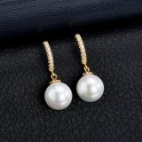 Exquisite Stud Earrings Pearl Earrings AAA Zircon Inlaid Copper Earrings  Korean Style Fashion Simple Earrings Qxwe1129