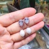 AAA Zircon Earrings Korean-Style Drop Pearl Stud Earrings Female Earrings Jewelry Qxwe1250