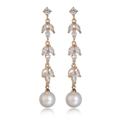 925 Sterling Silver Needle Pearl Stud Earrings Leaves X-Long Ear Stud Korean Style Cool Earrings Qxwe1018