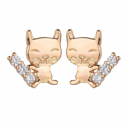 Cat Stud Earrings Copper Inlaid AAA Zircon Stud Earrings European and American Earrings Wholesale Qxwe1180